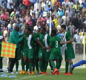 The Super Eagles celebrate one of their two goals against Chad in Kaduna in their opening 2017 Afcon qualifier in June.