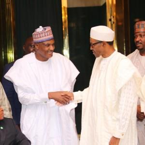 President Muhammadu Buhari meets Mallam Alhassan Yakmut, DG NSC