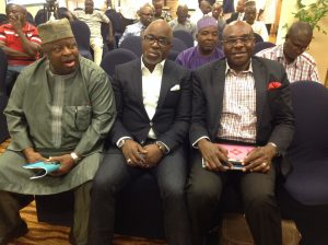 NFF President Pinnick in-between Dr. Ojo-Oba and Mazi Uchegbulam at the opening ceremony